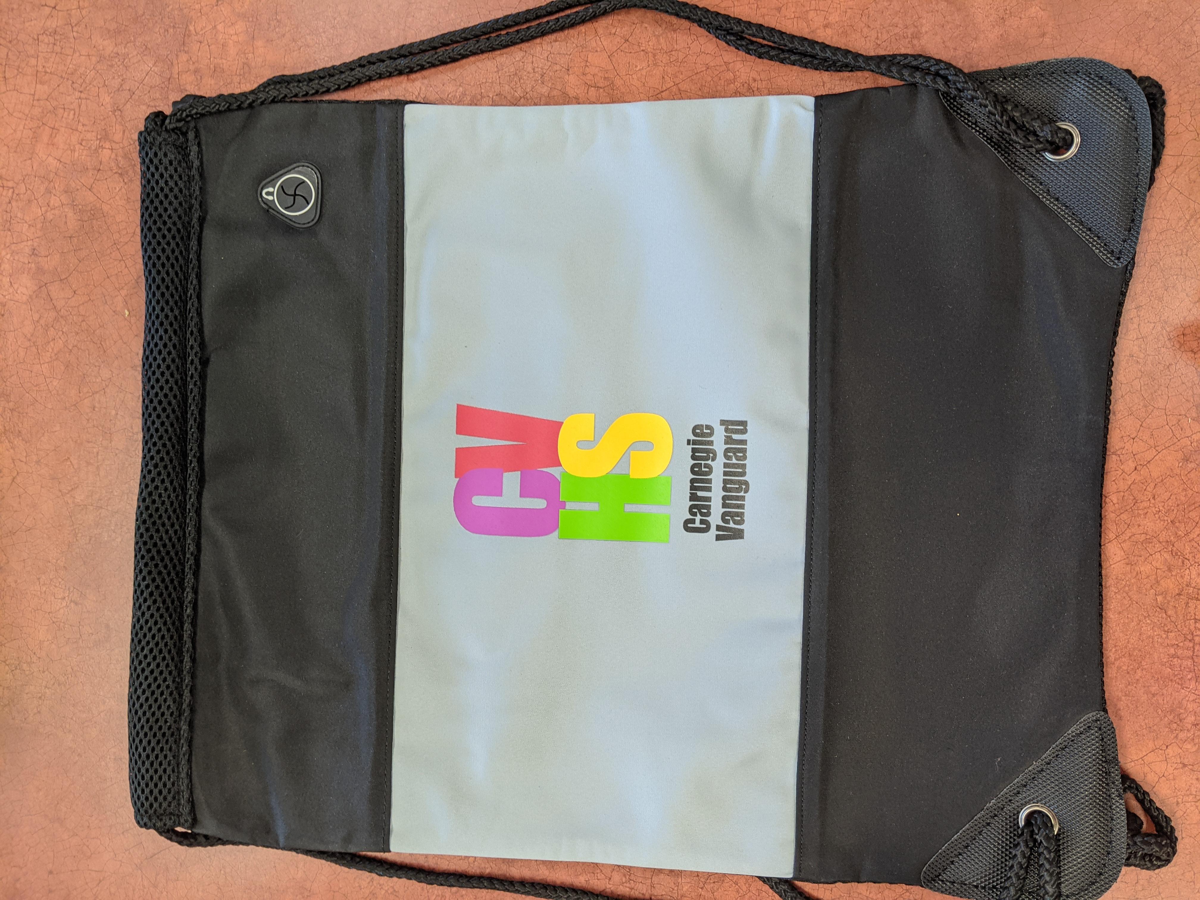 Black heavy-duty string backpack with school logo