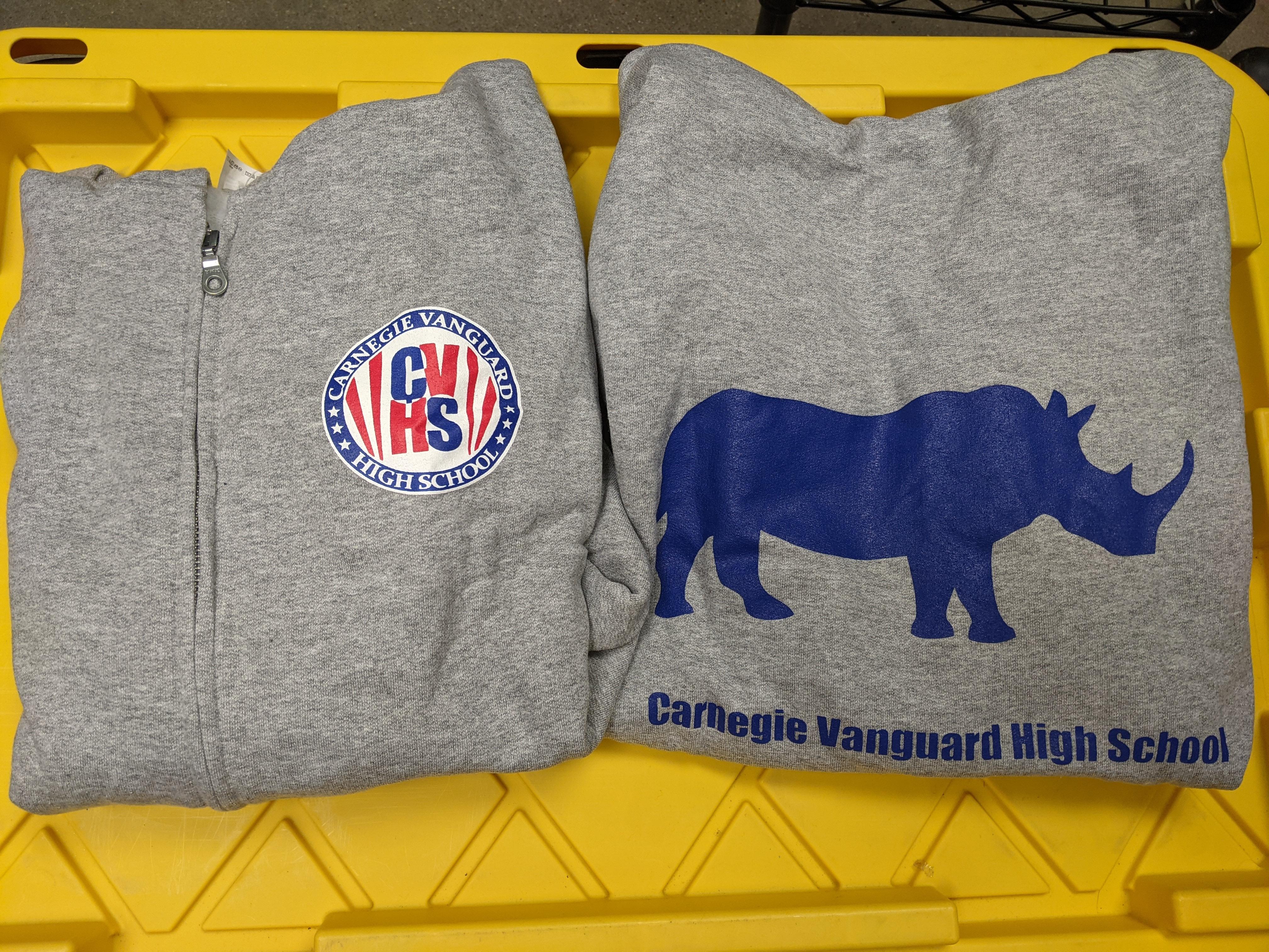 Sweatshirt Zip-up Hoodie, 3-Color Logo, Gray